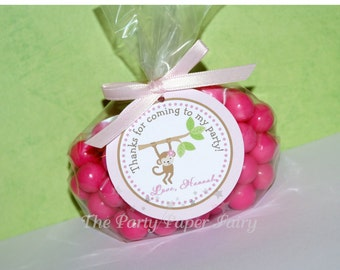 Girl Monkey Favor Tags - Pink, Green & Brown by The Party Paper Fairy (GIMO-1)