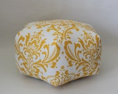 "18"" Ottoman Pouf Floor Pillow Yellow White Damask"