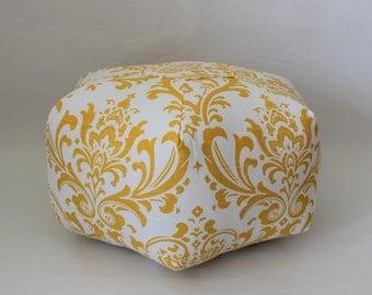 """18"""" Ottoman Pouf Floor Pillow Yellow White Damask"""