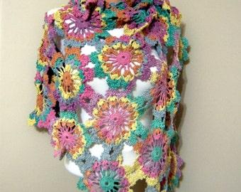 SPRING SALE Lilac,Violet ,Purple,Pink,Orange,Blue,Yellow,Green Rainbow's Crochet Shawl Flowers Shawl Multicolor Neck Warmer