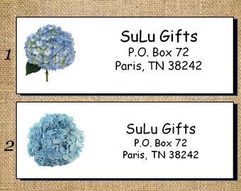 SALE Blue Hydrangea Personalized Address Labels