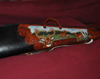 Custom Handcarved Rifle Case with Whitetail Deer Sheepskin lining hand sewn and laced.