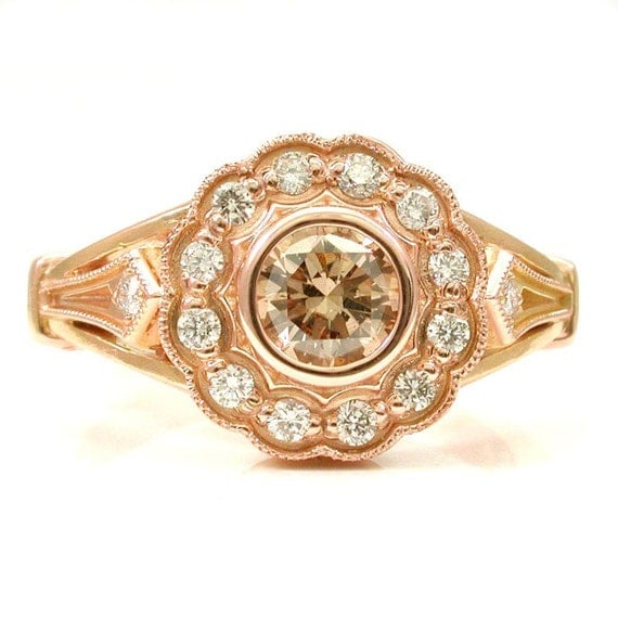 Items similar to art deco rose gold and champagne diamond for Deco maison rose gold