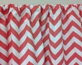ZIGZAG WINDOW VALANCE One 50wx15L Trendy Home Decor in Beautiful Coral and white Zigzag Chevron