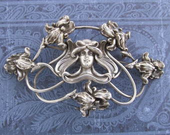 Art Nouveau Lady With Iris Flowers Brooch Kerr Sterling Silver Estate Figural Chatelaine Pin Circa 1900