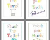 "Bathroom Rules Art Prints for Kids, set if 4-8x10"" Prints"