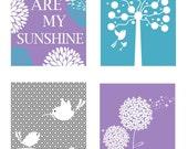 Purple and Aqua Nursery Decor // Purple Art for Kids // Nursery Wall Art // Set of Four Coordinating 8x10 PRINTS ONLY