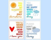 "Kids Wall Art You are my sunshine prints, Set of Four  8x10"" prints, nursery, or playroom, or as a gift"