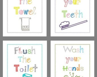 Bathroom Rules // Bathroom Art Prints for Kids // Bath Decor // Art for the Bathroom // Bathroom Wall Art // Bath Rules //4-8x10 PRINTS ONLY