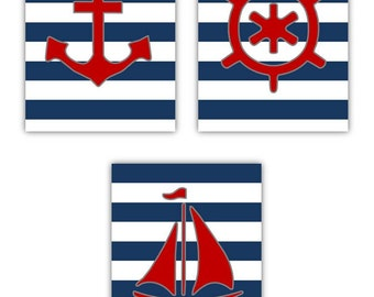 """Nautical Room Decor, Art for kids set of 3 8x10"""" Printd Striped or Nautical themes or toddler room"""