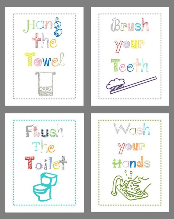 Bathroom rules bathroom art prints for kids bath decor for Children s bathroom designs