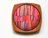 Wooden Brooch / Pendant - Liberty of London and Mahogany - Red Pink Orange Bookshelves