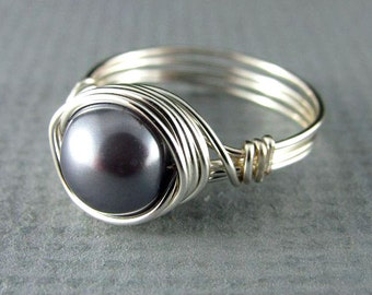 Wire Wrapped Ring Black Pearl Ring Nickel Free Silver Wire Wrapped Jewelry Custom Ring