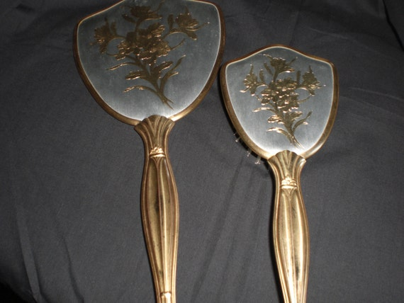 Vintage 1950s Hair Brush And Mirror Set In Gold Tone With