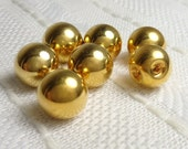 "Shiny Gold Balls - Set of 7 Buttons or Beads - 1/2"" Buttons"