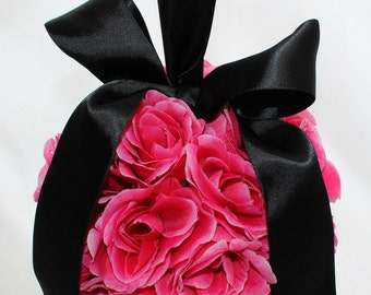SALE Hot for Pink Pomander with Black Satin Ribbon