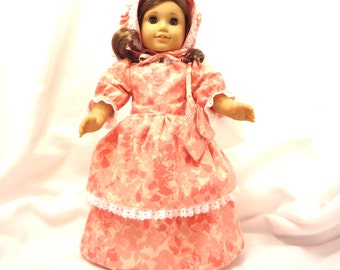 Shades of orange floral, long dress for 18 inch dolls, double skirted, with white lace trim.