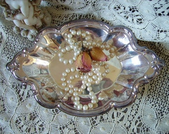 Ornate Silvertone patina tray, trinkets tray, Shabby cottage,