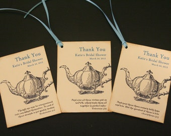 Wedding Favor Tags, Bridal Shower Favor Tags, Thank You Tags, Vintage, Shabby Chic, Teapot, Scripture, Garden Party, Tea Party