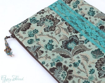iPad Tablet Cover, Tapestry and Lace, Soft Blues, Rich Browns, Floral