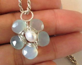 Blue Green Chalcedony white button pearl silver Pearl
