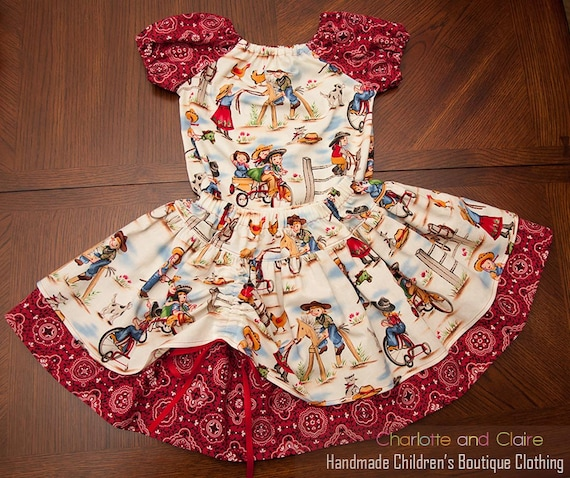 Cowgirl outfit-Western Outfit- Twirl Skirt and Peasant Top- Custom Made- 6 months, 12 months, 2T, 3T, 4T, 5