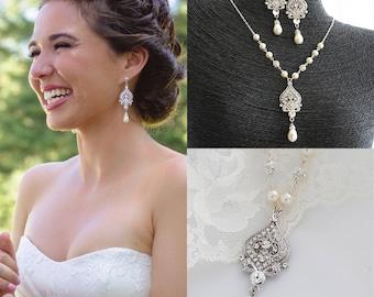 Bridal Necklace, Wedding Jewelry SET, Wedding Earrings, Vintage Style Bridal Jewelry, Swarovski Pearl Crystal Sterling Silver Jewelry, GRACE