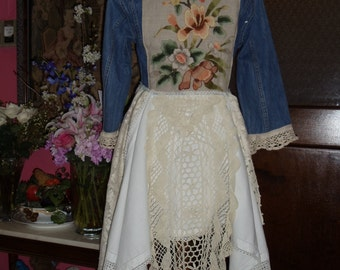 Levi's Jean Jacket,Long, Vintage Linens,Crochet,Hand Embroidered Linen,Lace,Trim,Upcycled,Eco Friendly