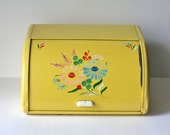 Vintage Bread Box / Ransburg / Yellow with Hand Painted Flowers / 1950s
