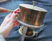 Vintage Etched Copper Fondue Pot with Stand