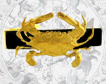 Crab Tie Clip Inlaid in Hand Pianted Enamel Zodiac Cancer Sign Tie Bar Accent Custom Colors  Available