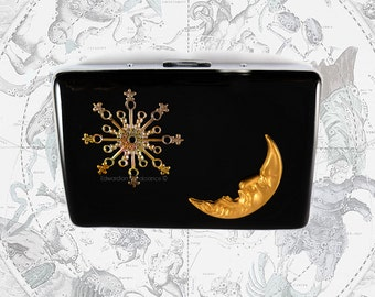 Celestial RFID Metal Wallet with Credit Card Organizer Inlaid in Hand Pianted Black Enamel Moon Man and Comet with Personalized and Colors