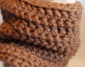 Crochet Scarf Cowl Brown Hazelnut Chunky Infinity Scarf - Neck warmer for Him -  Gift for Her - Winter Fashion - Fall Apparel Accessories