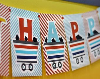 INSTANT DOWNLOAD - DIY printable happy birthday banner - choo choo train