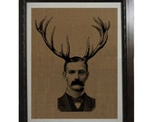 Spooky Goth Man with Antlers Screen Printed Burlap for Wall Frame 10 x 14