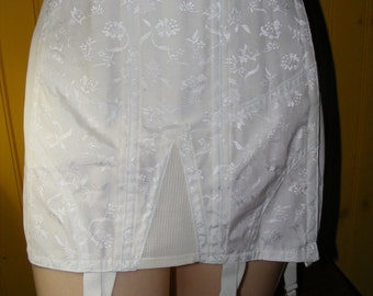 Vintage 1960s Full Girdle Stocking Garters Rengo 357 szs 29 0r 30 by Crown Foundations Unworn White Floral Pattern Side Hooks