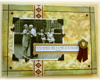 """love collage, handmade, vintage look, mixed media: """"In All The World"""""""