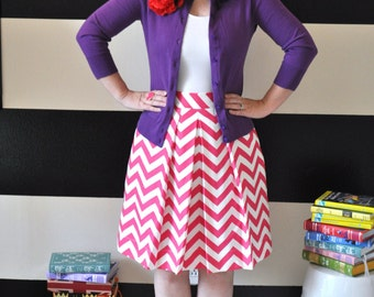 Pink and White Chevron Striped Katie Skirt full gathered and pleated skirt very retro and vintage 50's and 60's inspired Custom made