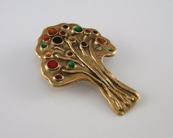 Gold Bronze Tree With Colorful Resin Brooch, Tree Lapel Pin, Colorful Pin, Tree Lover, Colorful Scarf Pin, Scarf Accessory, Handmade Brooch
