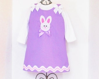 Girls EASTER BUNNY DRESS Size 3mo to 6 Monogram Included Spring Clothes Baby Toddler 3mo 6mo 9mo 12mo 18mo 24mo 2T 3T 4T 5 6