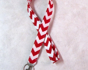 Sale Fabric ID Badge Holder 1 inch Lanyard--Riley Blake Small Red Chevron--Great Teacher Gift