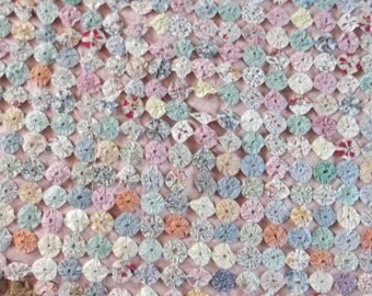 YOYO Cover Patchwork Quilt Coverlet Worn and Torn Vintage