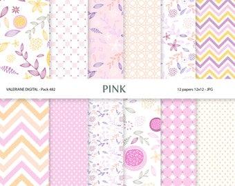 Digital paper pack in pink, digital backgrounds - 12 jpg files 12x12 INSTANT DOWNLOAD 482