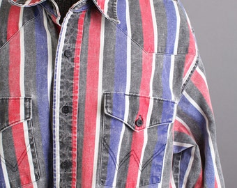 Mens Vintage Long Sleeve Striped Wrangler Western Shirt, 16.5/34