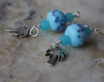 dangle earrings with sterling palm trees and lampwork glass