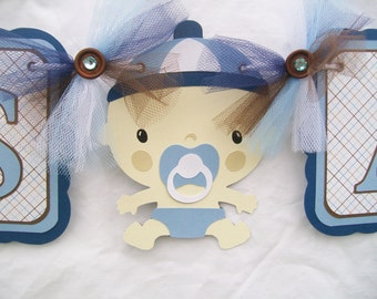 its a boy banner, baby shower banner, baby boy decorations, nursery decorations, blue and brown, boy baby shower, table banner, photo prop