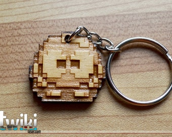 Laser cut and engraved Nintendo Lolo 8bit wood keyring