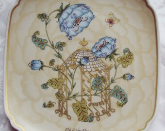 Now Reduced Vintage Ole Winther Plate Mother and Child Blue Fantasy Flowers Butterfly Hutschenreuther Limited Edition 1983 Art Nouveau