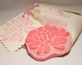Blooming Lotus Peony Flower Rubber Stamp Hand Carved Scrapbook Paper Card Fabric Embellishment Supply