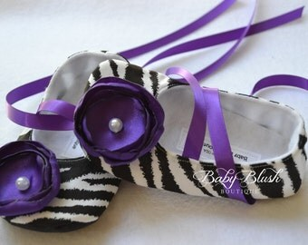 Black & White Zebra Baby Shoes with Purple Flower - Soft Ballerina Slippers Baby Booties